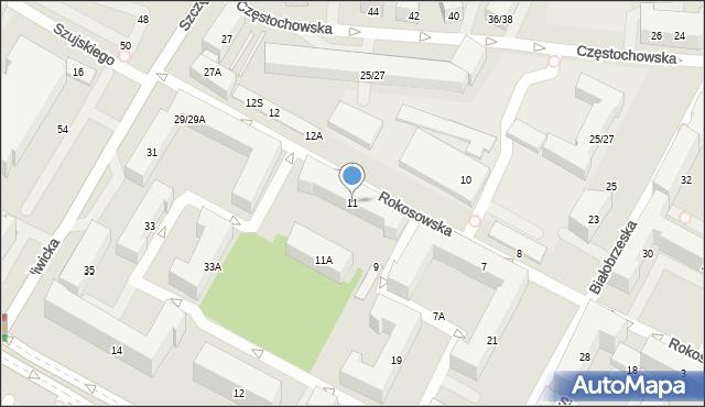Warszawa, Rokosowska, 11, mapa Warszawy
