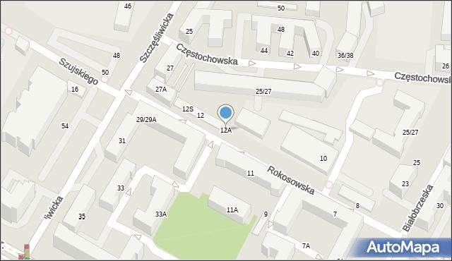 Warszawa, Rokosowska, 12A, mapa Warszawy