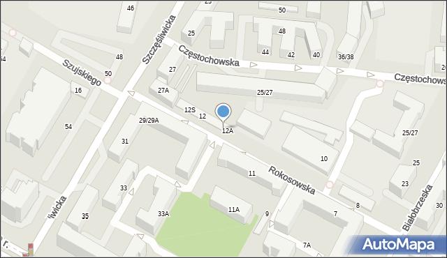 Warszawa, Rokosowska, 12B, mapa Warszawy