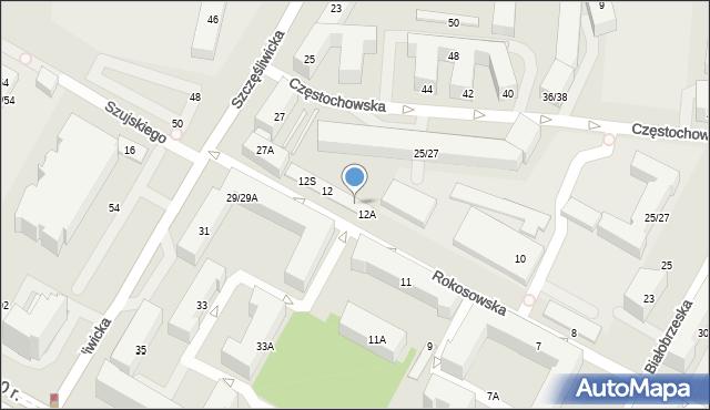 Warszawa, Rokosowska, 12D, mapa Warszawy