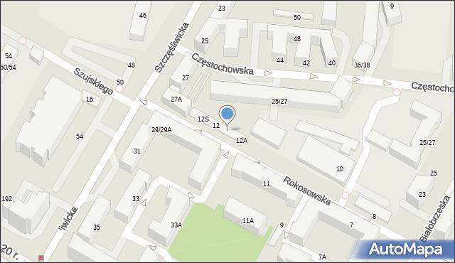 Warszawa, Rokosowska, 12F, mapa Warszawy