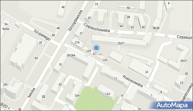 Warszawa, Rokosowska, 12H, mapa Warszawy