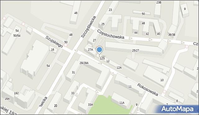 Warszawa, Rokosowska, 12U, mapa Warszawy