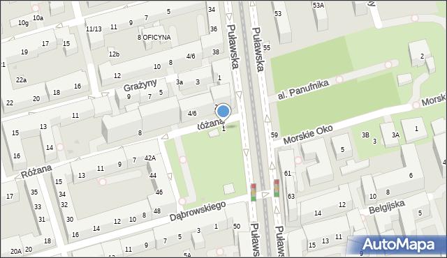 Warszawa, Różana, 1, mapa Warszawy