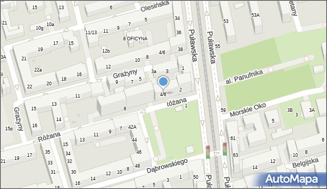 Warszawa, Różana, 4/6, mapa Warszawy