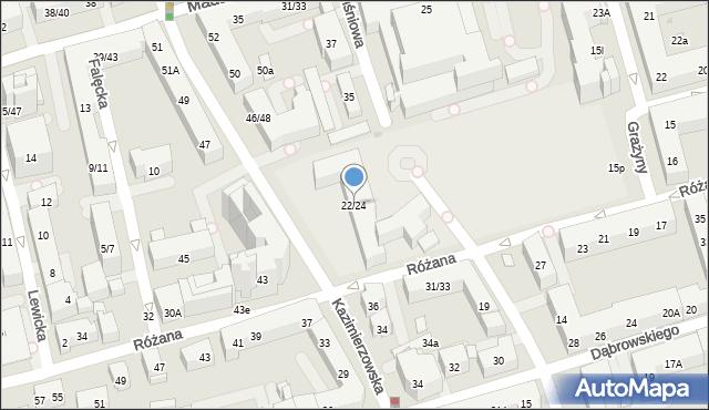 Warszawa, Różana, 22/24, mapa Warszawy