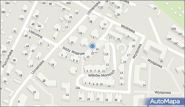 Warszawa, Róży Wiatrów, 12, mapa Warszawy