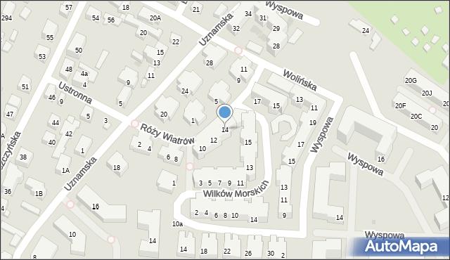 Warszawa, Róży Wiatrów, 14, mapa Warszawy