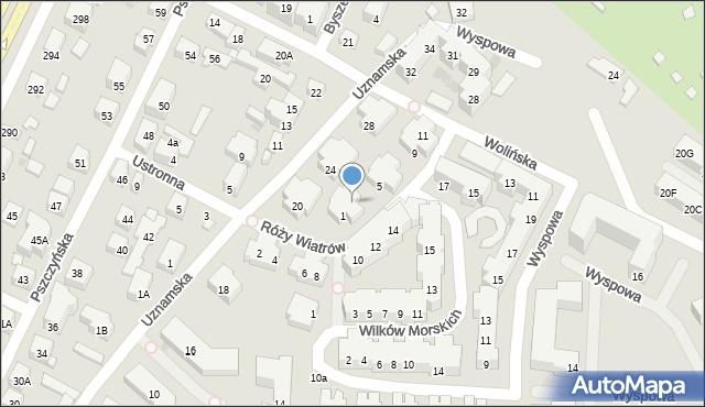 Warszawa, Róży Wiatrów, 3, mapa Warszawy