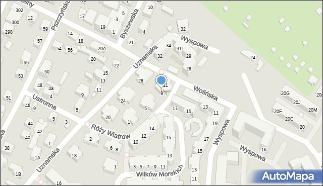 Warszawa, Róży Wiatrów, 9, mapa Warszawy
