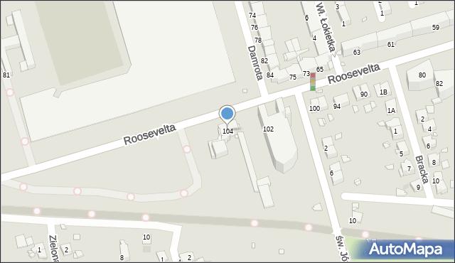 Zabrze, Roosevelta Franklina Delano, 104, mapa Zabrza