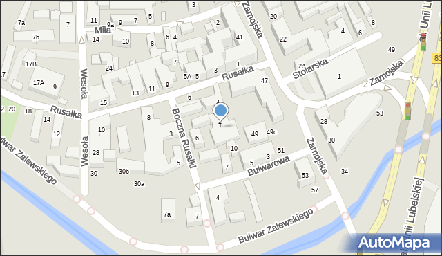 Lublin, Rusałka, 4a, mapa Lublina