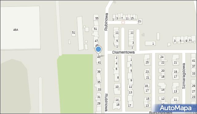 Piaseczno, Rubinowa, 43, mapa Piaseczno