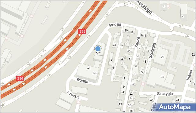 Sosnowiec, Rudna, 14c, mapa Sosnowca