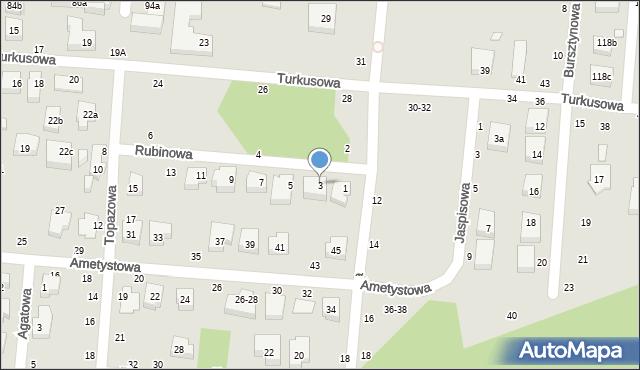 Toruń, Rubinowa, 3, mapa Torunia