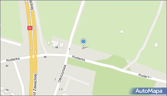 Toruń, Rudacka, 107, mapa Torunia