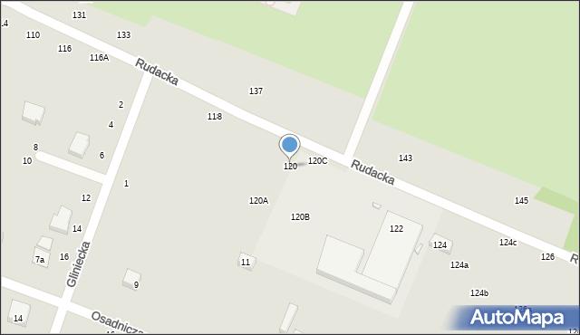 Toruń, Rudacka, 120, mapa Torunia