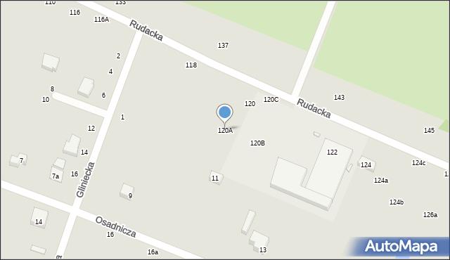 Toruń, Rudacka, 120A, mapa Torunia