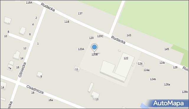 Toruń, Rudacka, 120B, mapa Torunia