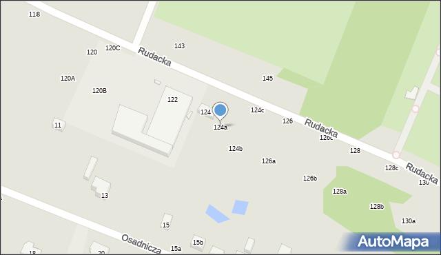 Toruń, Rudacka, 124a, mapa Torunia