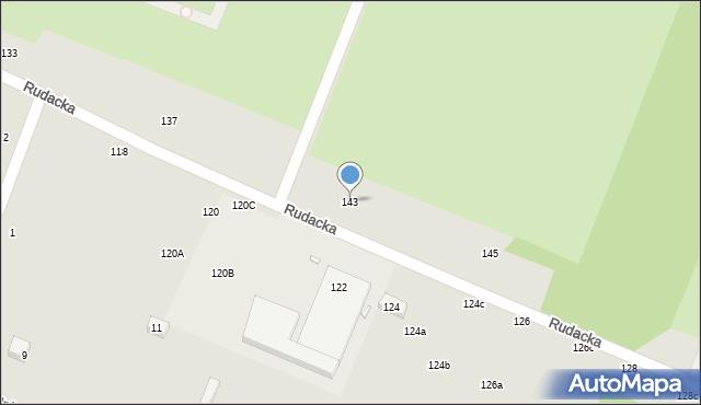 Toruń, Rudacka, 143, mapa Torunia
