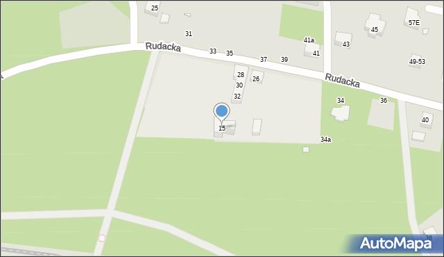 Toruń, Rudacka, 15, mapa Torunia