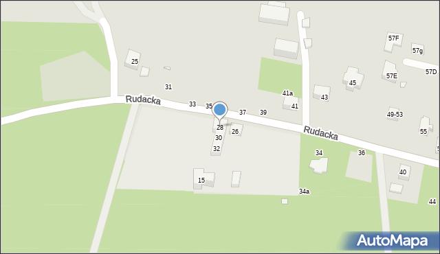Toruń, Rudacka, 28, mapa Torunia