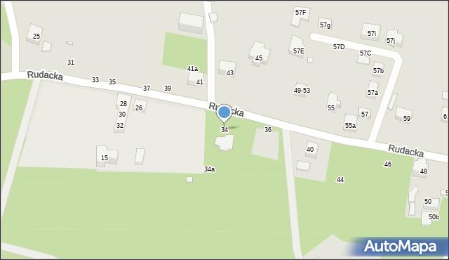 Toruń, Rudacka, 34, mapa Torunia