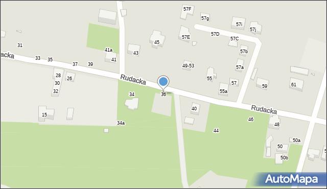 Toruń, Rudacka, 36, mapa Torunia