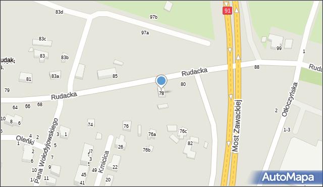 Toruń, Rudacka, 78, mapa Torunia