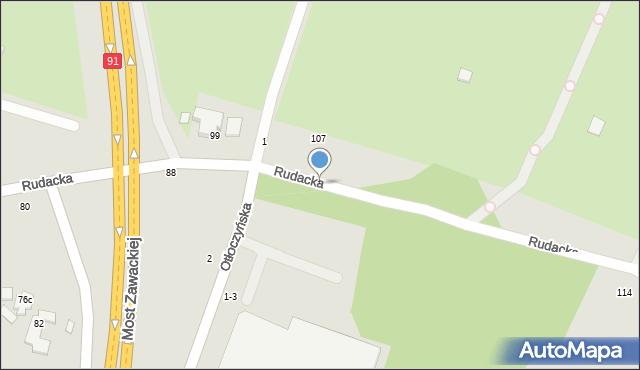 Toruń, Rudacka, 94, mapa Torunia