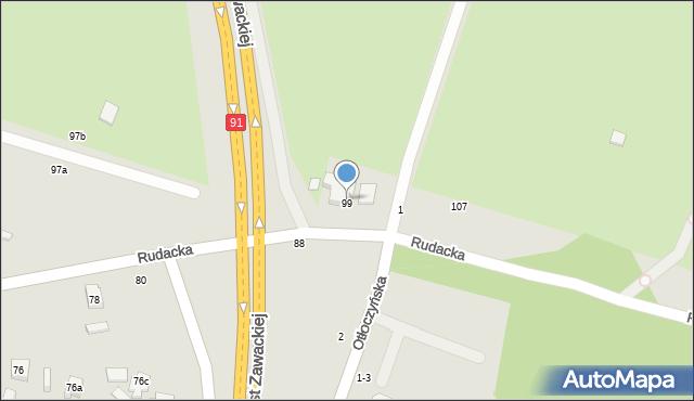 Toruń, Rudacka, 95, mapa Torunia