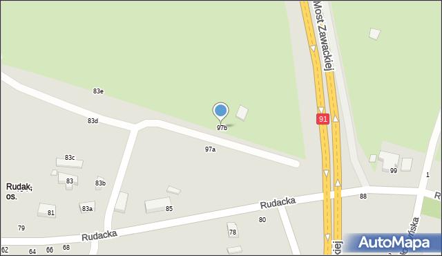 Toruń, Rudacka, 97b, mapa Torunia