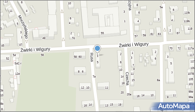 Toruń, Rusa, 1, mapa Torunia