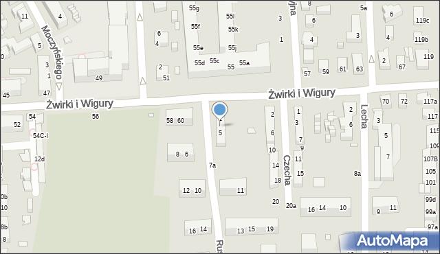 Toruń, Rusa, 3, mapa Torunia