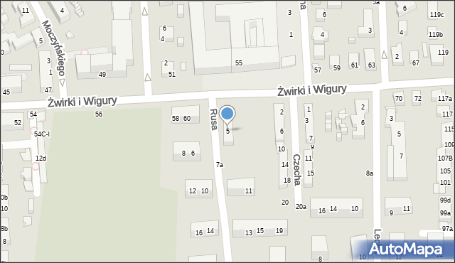 Toruń, Rusa, 5, mapa Torunia