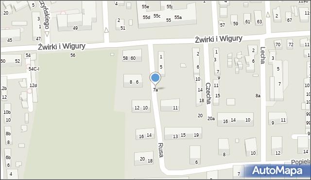 Toruń, Rusa, 7a, mapa Torunia