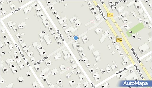 Warszawa, Rumiana, 38A, mapa Warszawy
