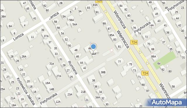 Warszawa, Rumiana, 44A, mapa Warszawy