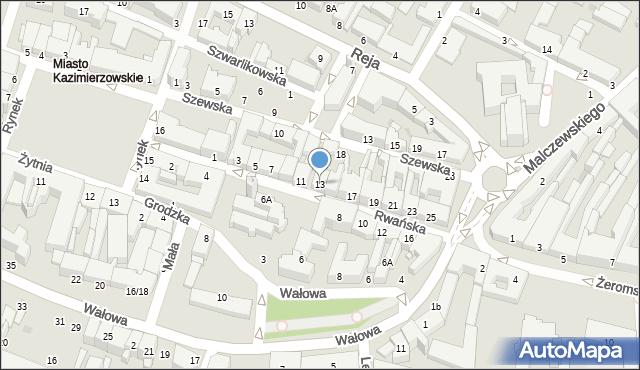 Radom, Rwańska, 13, mapa Radomia