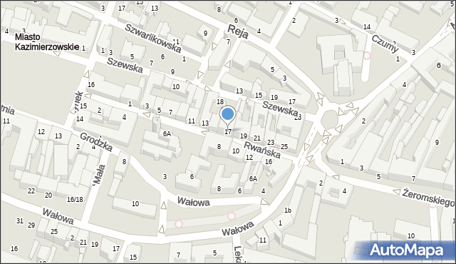 Radom, Rwańska, 17, mapa Radomia