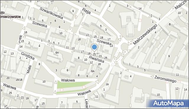 Radom, Rwańska, 21, mapa Radomia