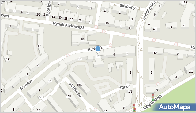 Białystok, Rynek Kościuszki Tadeusza, gen., 11, mapa Białegostoku