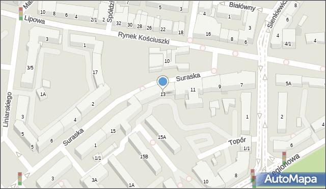Białystok, Rynek Kościuszki Tadeusza, gen., 13, mapa Białegostoku