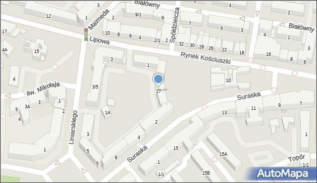 Białystok, Rynek Kościuszki Tadeusza, gen., 17, mapa Białegostoku