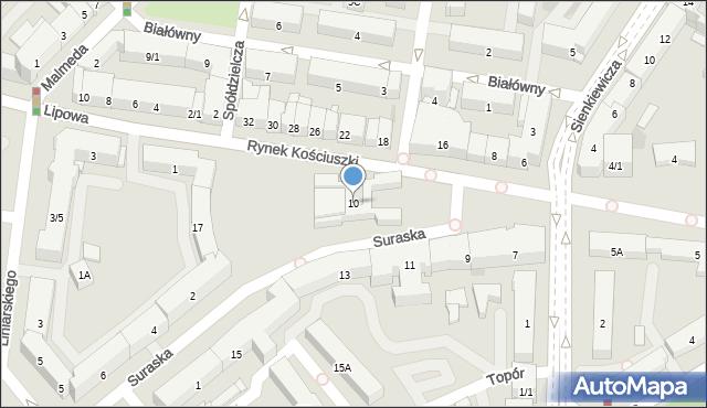Białystok, Rynek Kościuszki Tadeusza, gen., 10, mapa Białegostoku