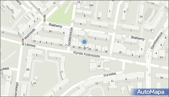 Białystok, Rynek Kościuszki Tadeusza, gen., 28, mapa Białegostoku