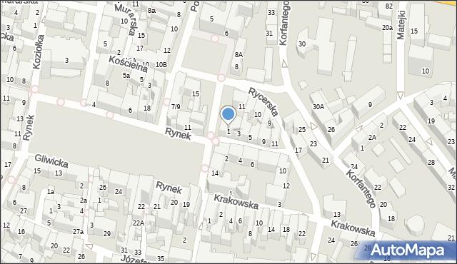 Bytom, Rycerska, 1, mapa Bytomia