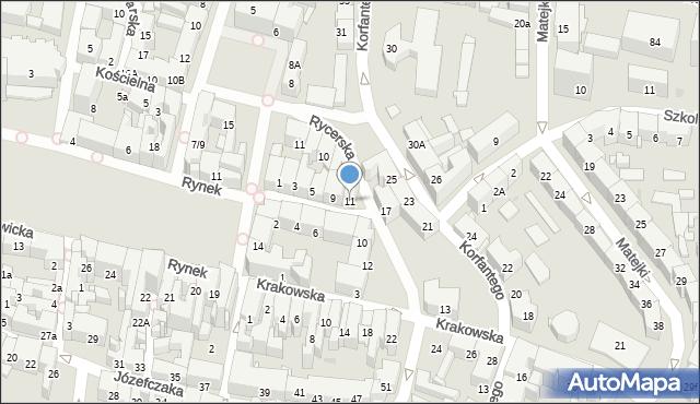 Bytom, Rycerska, 11, mapa Bytomia