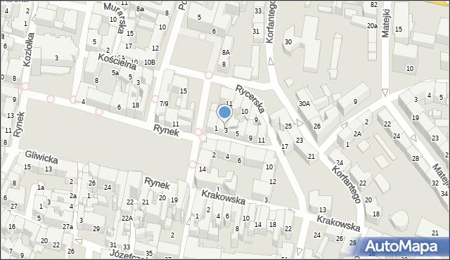 Bytom, Rycerska, 3, mapa Bytomia